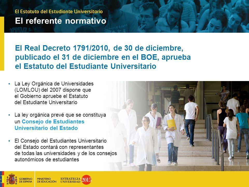 El referente normativo El Real Decreto 1791/2010, de 30 de diciembre, publicado el 31 de diciembre en el BOE, aprueba el Estatuto del Estudiante Unive