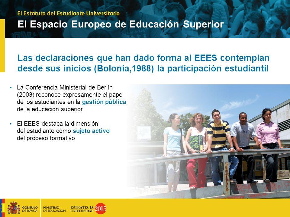 El Espacio Europeo de Educación Superior Las declaraciones que han dado forma al EEES contemplan desde sus inicios (Bolonia,1988) la participación est