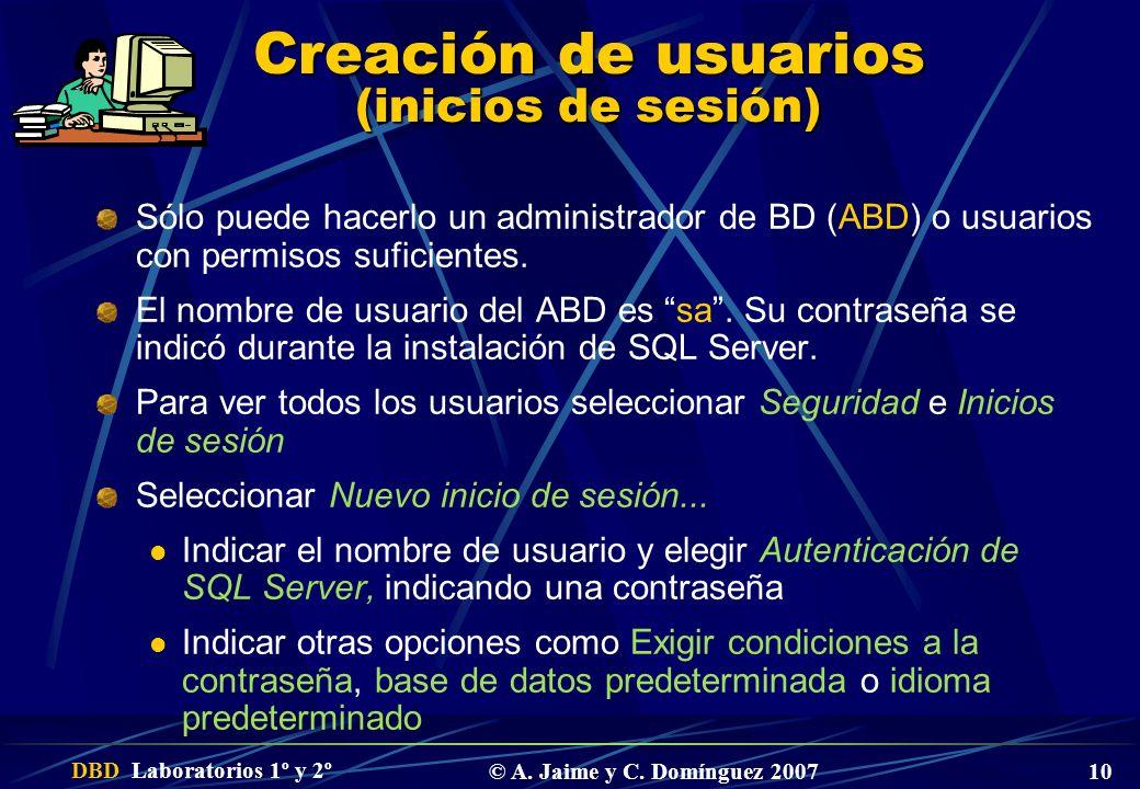 DBD Laboratorios 1º y 2º © A. Jaime y C. Domínguez 2007 10 Creación de usuarios (inicios de sesión) Sólo puede hacerlo un administrador de BD (ABD) o