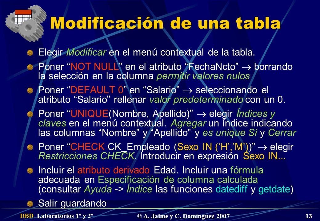 DBD Laboratorios 1º y 2º © A. Jaime y C. Domínguez 2007 13 Modificación de una tabla Elegir Modificar en el menú contextual de la tabla. Poner NOT NUL