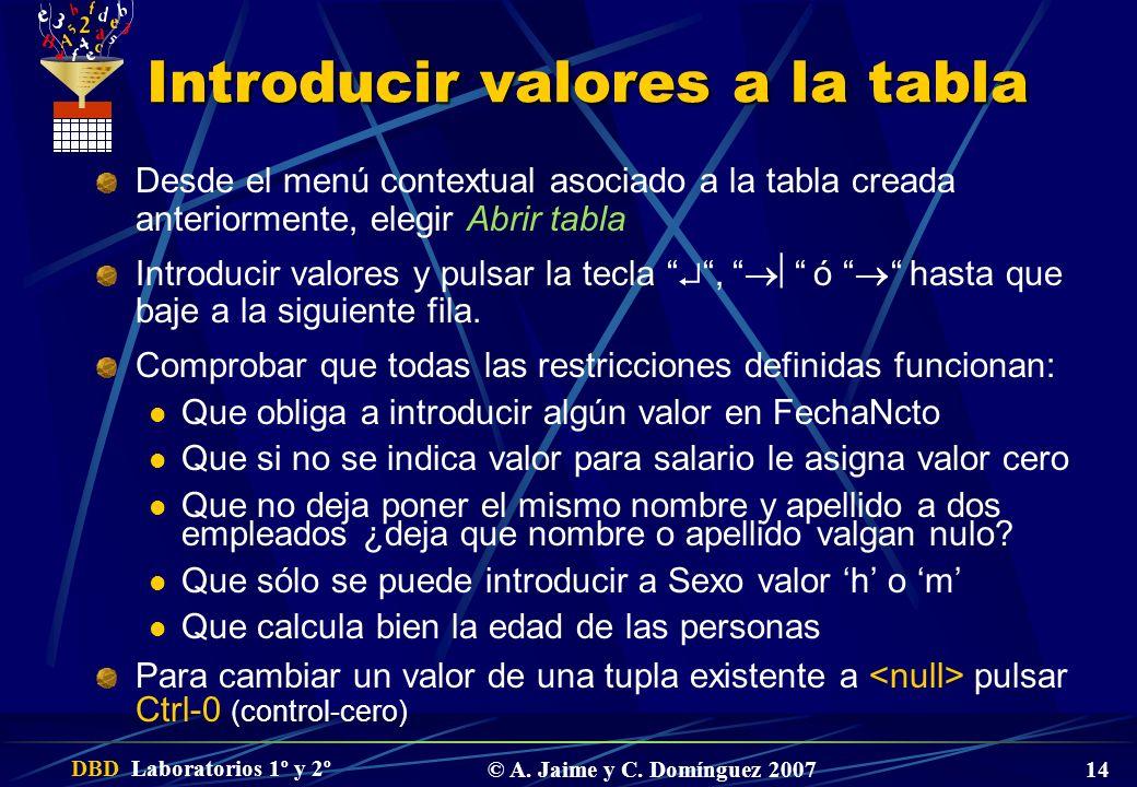DBD Laboratorios 1º y 2º © A. Jaime y C. Domínguez 2007 14 Introducir valores a la tabla Desde el menú contextual asociado a la tabla creada anteriorm