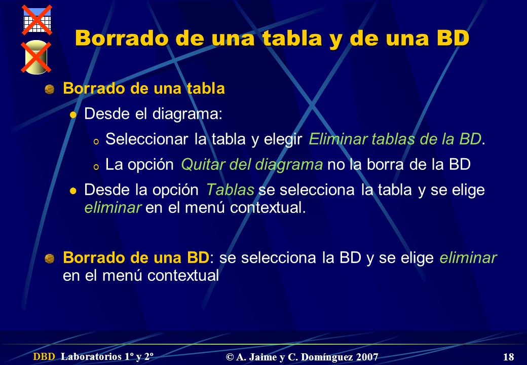 DBD Laboratorios 1º y 2º © A. Jaime y C. Domínguez 2007 18 Borrado de una tabla y de una BD Borrado de una tabla Desde el diagrama: o Seleccionar la t