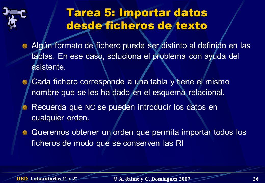 DBD Laboratorios 1º y 2º © A. Jaime y C. Domínguez 2007 26 Tarea 5: Importar datos desde ficheros de texto Algún formato de fichero puede ser distinto