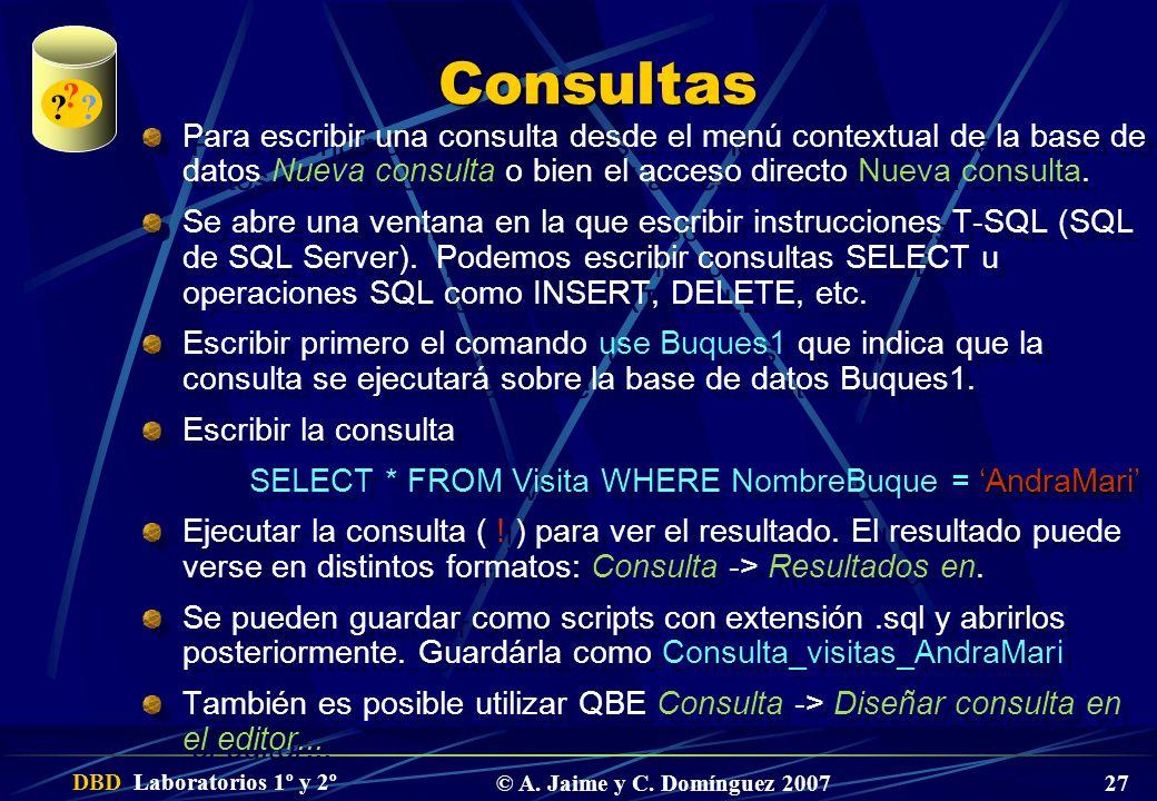 DBD Laboratorios 1º y 2º © A. Jaime y C. Domínguez 2007 27 Consultas Para escribir una consulta desde el menú contextual de la base de datos Nueva con