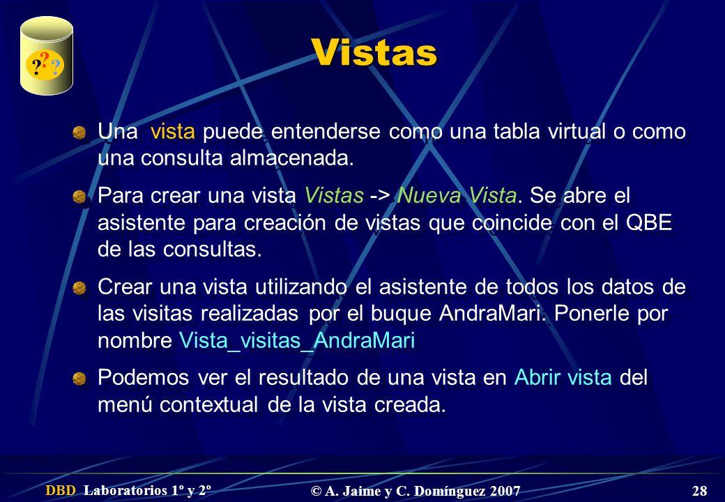 DBD Laboratorios 1º y 2º © A. Jaime y C. Domínguez 2007 28 Vistas Una vista puede entenderse como una tabla virtual o como una consulta almacenada. Pa