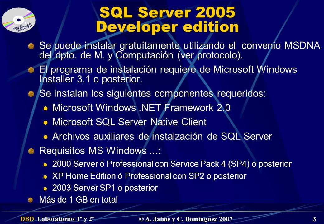 DBD Laboratorios 1º y 2º © A. Jaime y C. Domínguez 2007 3 SQL Server 2005 Developer edition Se puede instalar gratuitamente utilizando el convenio MSD