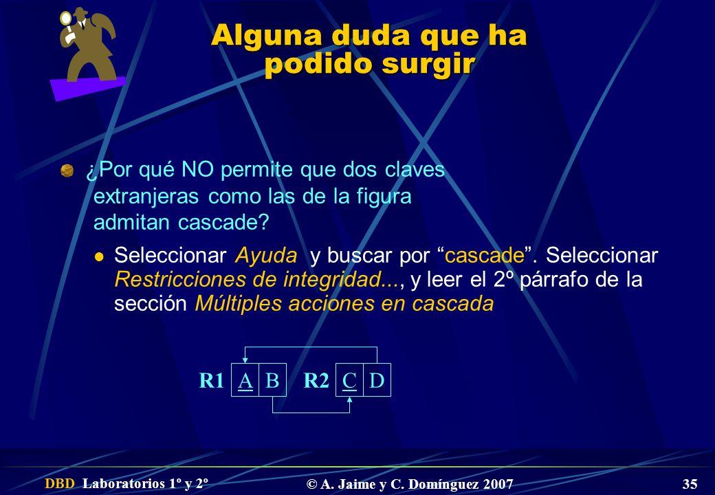 DBD Laboratorios 1º y 2º © A. Jaime y C. Domínguez 2007 35 Alguna duda que ha podido surgir ¿Por qué NO permite que dos claves extranjeras como las de