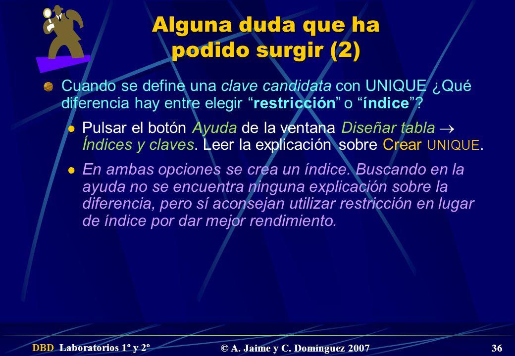 DBD Laboratorios 1º y 2º © A. Jaime y C. Domínguez 2007 36 Alguna duda que ha podido surgir (2) Cuando se define una clave candidata con UNIQUE ¿Qué d