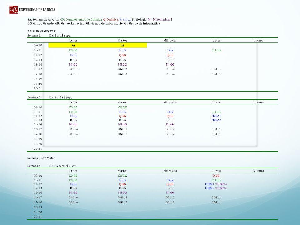 GRUPO REDUCIDO A1 GRUPO REDUCIDO A2 GRUPO GRANDE Clases de Teoría G L1G L2G L3G L4 G L1 COMPLEMENTOS DE QUÍMICA G L2 COMPLEMENTOS DE QUÍMICA G L3 COMPLEMENTOS DE QUÍMICA G L1G L2G L3G L4 FÍSICA Grupos de Docencia y Horarios