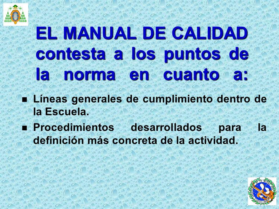 EL MANUAL DE CALIDAD contesta a los puntos de la norma en cuanto a: n n Líneas generales de cumplimiento dentro de la Escuela. n n Procedimientos desa