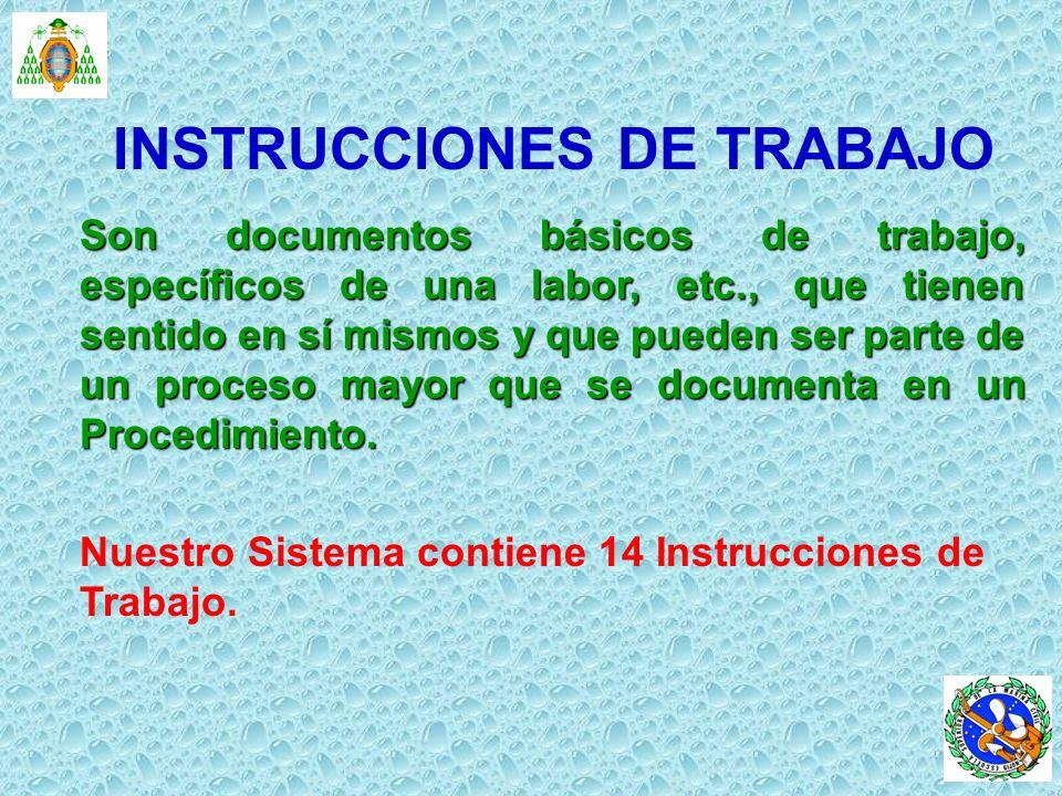 INSTRUCCIONES DE TRABAJO Son documentos básicos de trabajo, específicos de una labor, etc., que tienen sentido en sí mismos y que pueden ser parte de