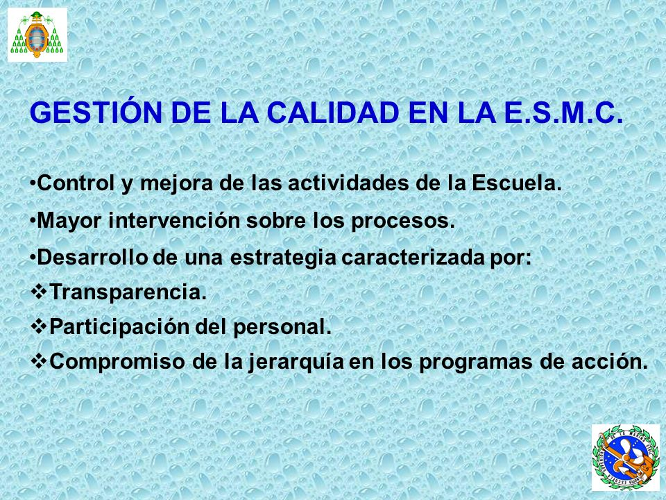 GESTIÓN DE LA CALIDAD EN LA E.S.M.C. Control y mejora de las actividades de la Escuela. Mayor intervención sobre los procesos. Desarrollo de una estra