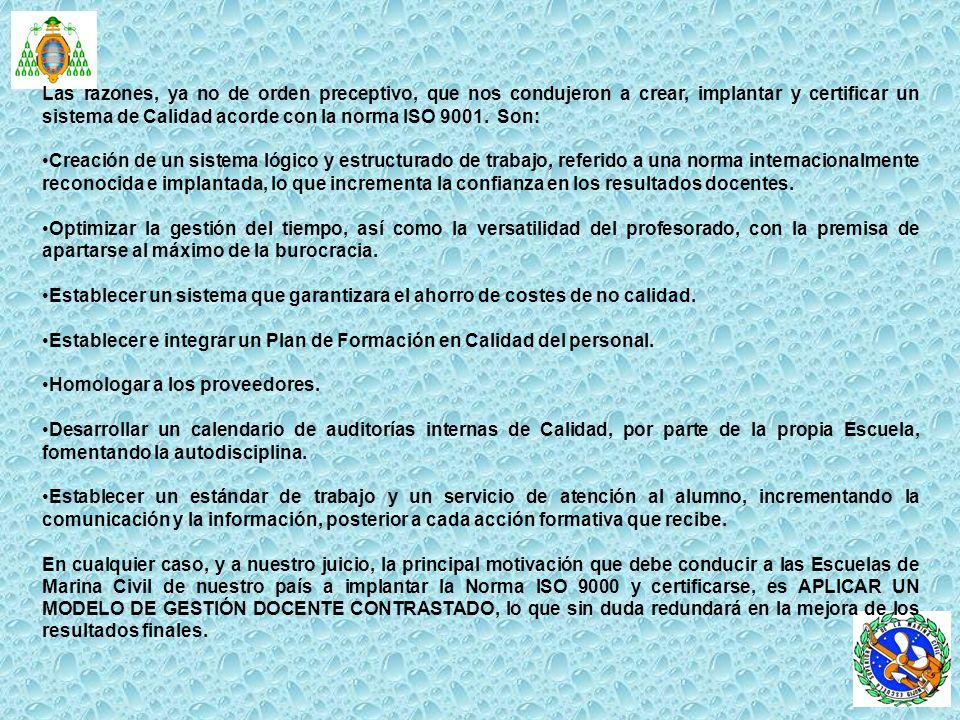 DOCUMENTACIÓN DEL SISTEMA DE CALIDAD IMPLANTADO EN LA ESCUELA SUPERIOR DE LA MARINA CIVIL DE GIJÓN