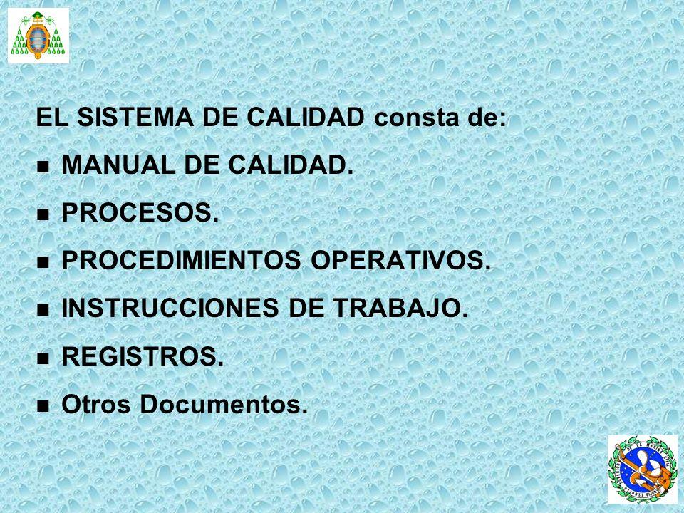 EL SISTEMA DE CALIDAD consta de: n n MANUAL DE CALIDAD. n n PROCESOS. n n PROCEDIMIENTOS OPERATIVOS. n n INSTRUCCIONES DE TRABAJO. n n REGISTROS. n n