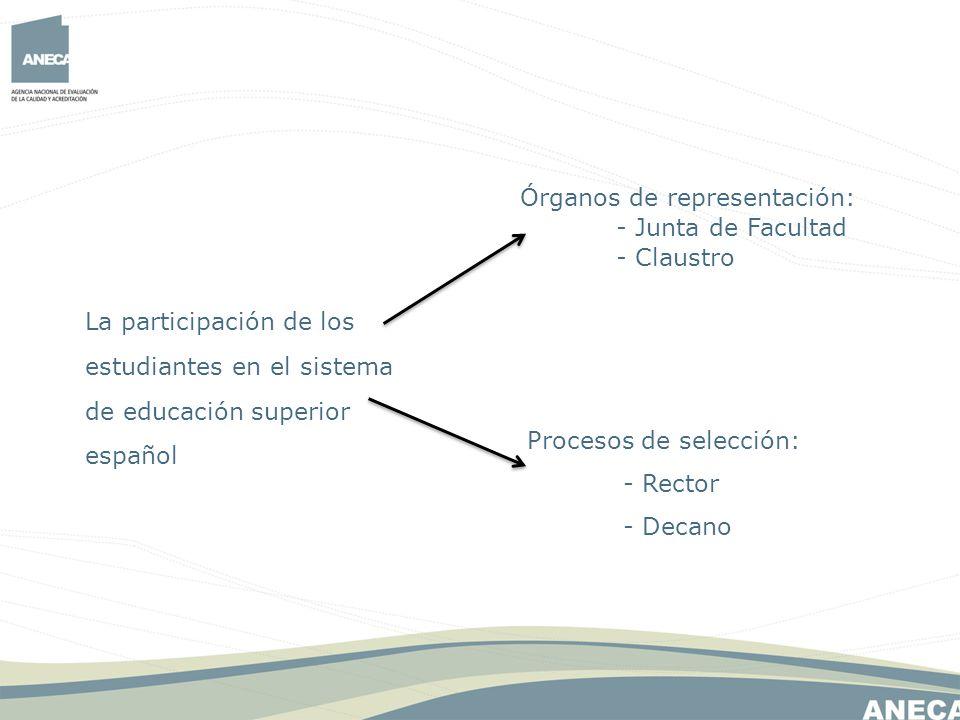 La participación de los estudiantes en el sistema de educación superior español Órganos de representación: - Junta de Facultad - Claustro Procesos de selección: - Rector - Decano