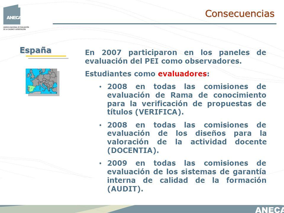 En 2007 participaron en los paneles de evaluación del PEI como observadores.