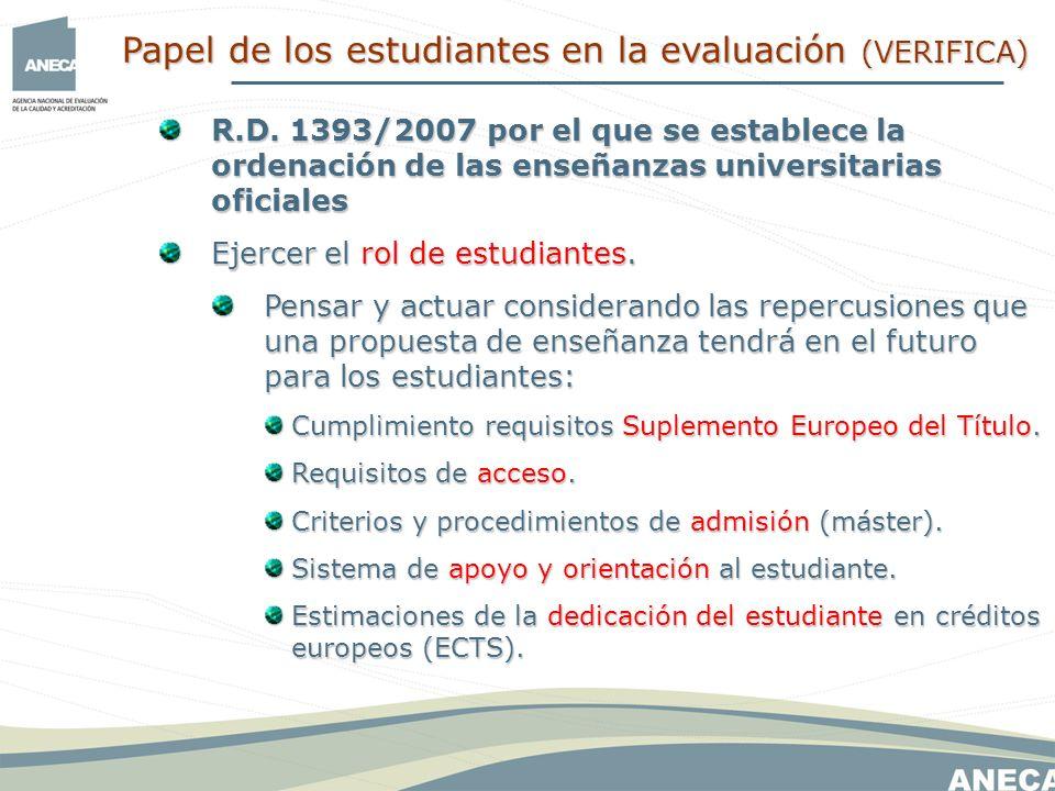 R.D. 1393/2007 por el que se establece la ordenación de las enseñanzas universitarias oficiales Ejercer el rol de estudiantes. Pensar y actuar conside