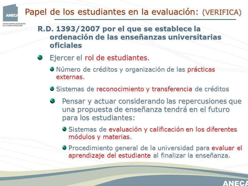 R.D. 1393/2007 por el que se establece la ordenación de las enseñanzas universitarias oficiales Ejercer el rol de estudiantes. Número de créditos y or