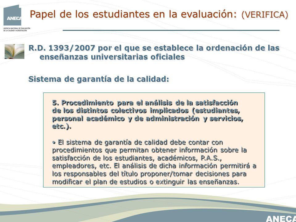 R.D. 1393/2007 por el que se establece la ordenación de las enseñanzas universitarias oficiales Sistema de garantía de la calidad: 5. Procedimiento pa