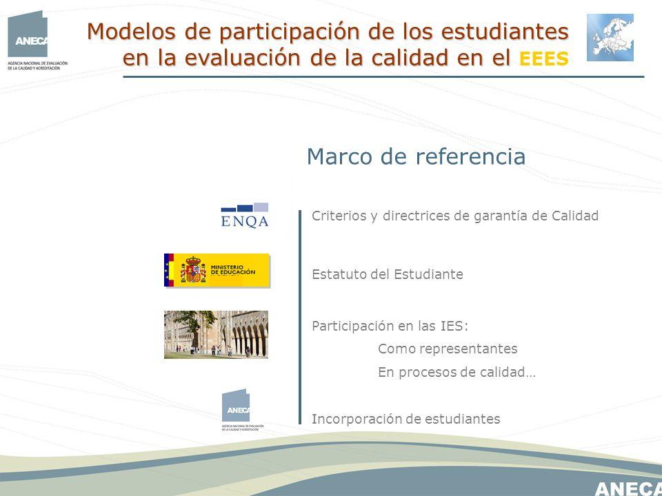 Marco de referencia Estatuto del Estudiante Incorporación de estudiantes Criterios y directrices de garantía de Calidad Participación en las IES: Como representantes En procesos de calidad… Modelos de participación de los estudiantes en la evaluación de la calidad en el Modelos de participación de los estudiantes en la evaluación de la calidad en el EEES