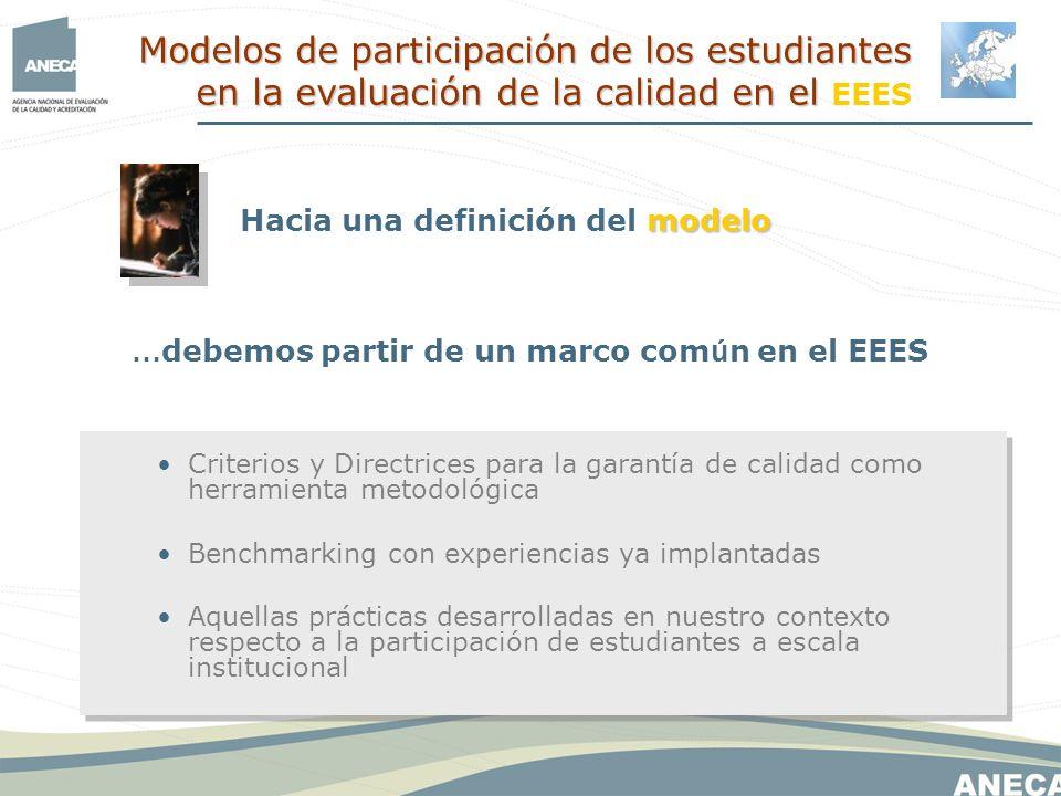 … debemos partir de un marco com ú n en el EEES modelo Hacia una definición del modelo Criterios y Directrices para la garantía de calidad como herramienta metodológica Benchmarking con experiencias ya implantadas Aquellas prácticas desarrolladas en nuestro contexto respecto a la participación de estudiantes a escala institucional Modelos de participación de los estudiantes en la evaluación de la calidad en el Modelos de participación de los estudiantes en la evaluación de la calidad en el EEES