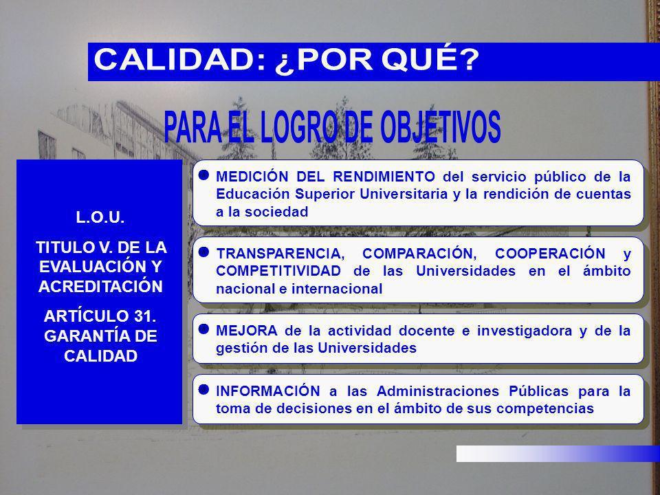 L.O.U. TITULO V. DE LA EVALUACIÓN Y ACREDITACIÓN ARTÍCULO 31. GARANTÍA DE CALIDAD MEDICIÓN DEL RENDIMIENTO del servicio público de la Educación Superi