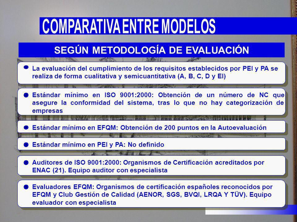 La evaluación del cumplimiento de los requisitos establecidos por PEI y PA se realiza de forma cualitativa y semicuantitativa (A, B, C, D y EI) Estánd