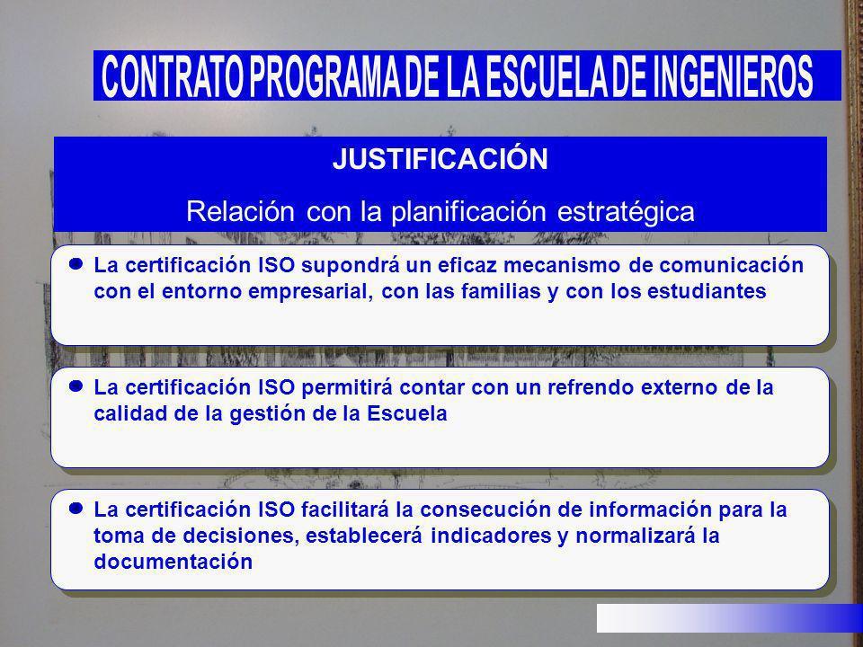 La certificación ISO supondrá un eficaz mecanismo de comunicación con el entorno empresarial, con las familias y con los estudiantes JUSTIFICACIÓN Rel