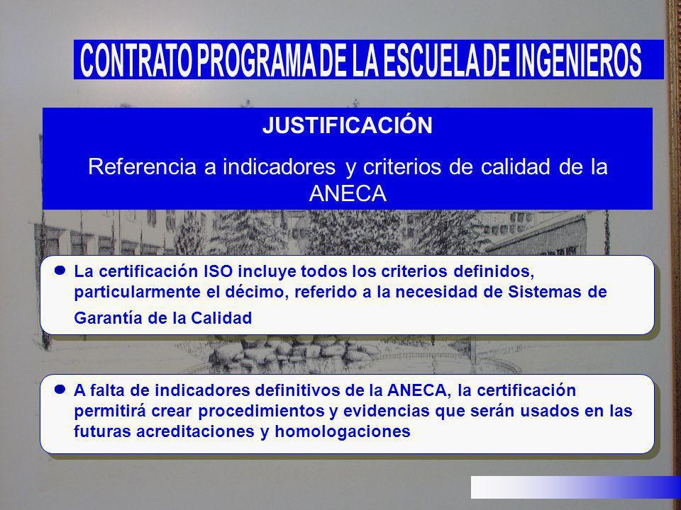 JUSTIFICACIÓN Referencia a indicadores y criterios de calidad de la ANECA La certificación ISO incluye todos los criterios definidos, particularmente