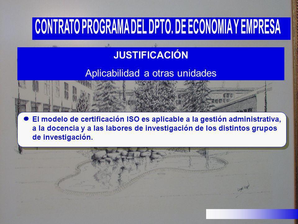 JUSTIFICACIÓN Aplicabilidad a otras unidades El modelo de certificación ISO es aplicable a la gestión administrativa, a la docencia y a las labores de