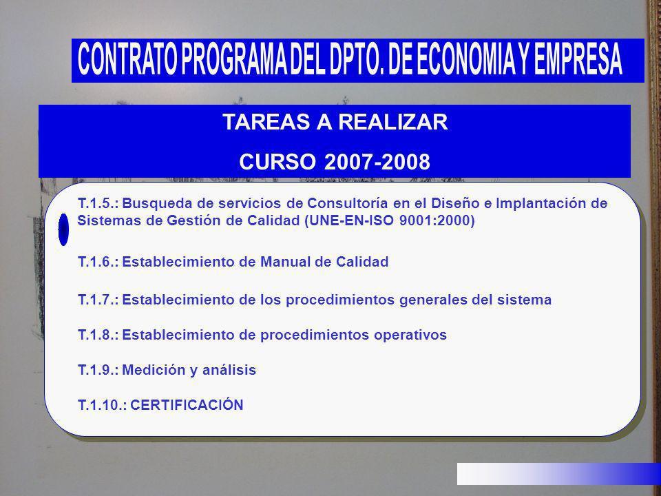TAREAS A REALIZAR CURSO 2007-2008 T.1.5.: Busqueda de servicios de Consultoría en el Diseño e Implantación de Sistemas de Gestión de Calidad (UNE-EN-I