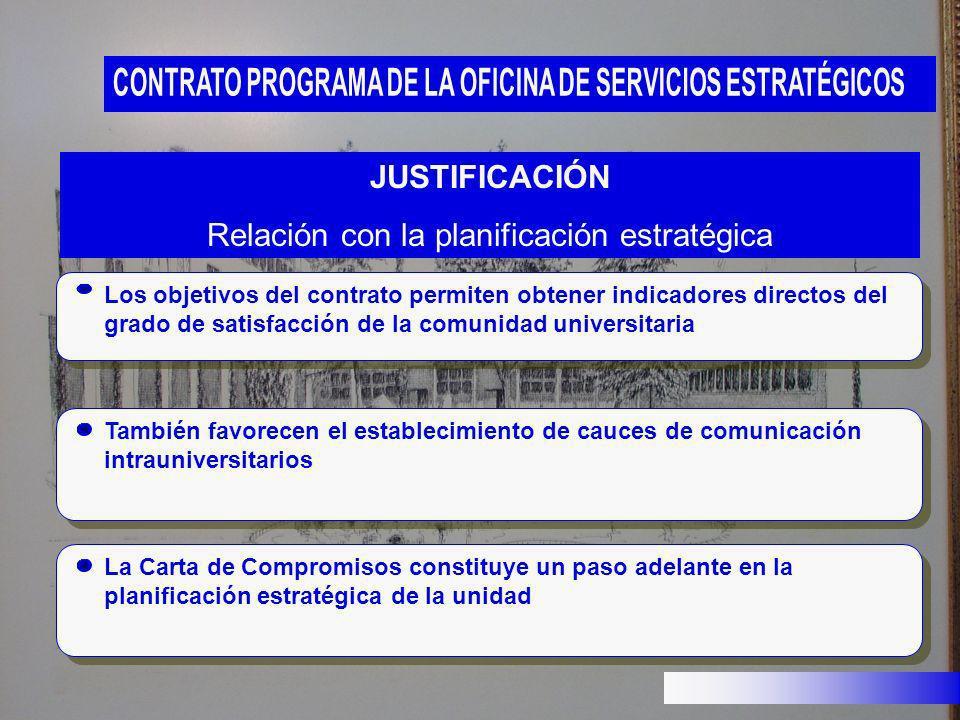 Los objetivos del contrato permiten obtener indicadores directos del grado de satisfacción de la comunidad universitaria JUSTIFICACIÓN Relación con la