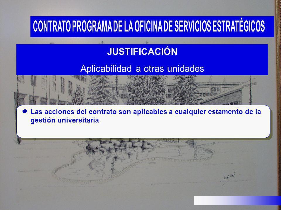 JUSTIFICACIÓN Aplicabilidad a otras unidades Las acciones del contrato son aplicables a cualquier estamento de la gestión universitaria