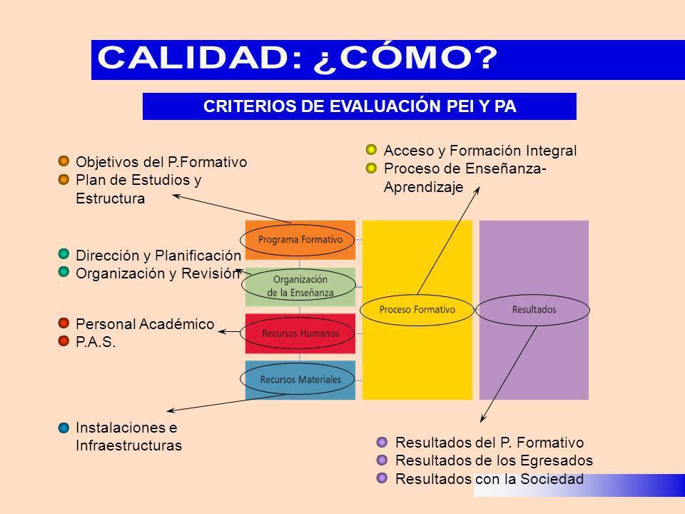 Objetivos del P.Formativo Plan de Estudios y Estructura Dirección y Planificación Organización y Revisión Personal Académico P.A.S. Instalaciones e In