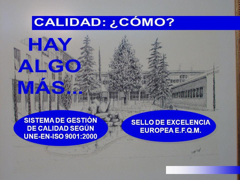 SISTEMA DE GESTIÓN DE CALIDAD SEGÚN UNE-EN-ISO 9001:2000 SELLO DE EXCELENCIA EUROPEA E.F.Q.M.