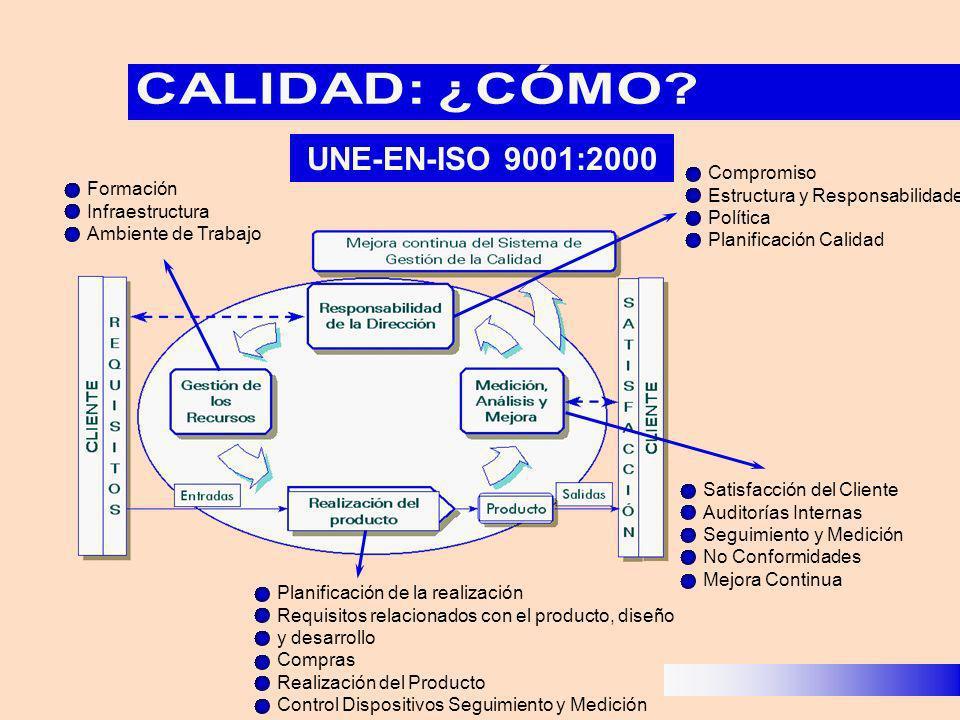 UNE-EN-ISO 9001:2000 Formación Infraestructura Ambiente de Trabajo Planificación de la realización Requisitos relacionados con el producto, diseño y d