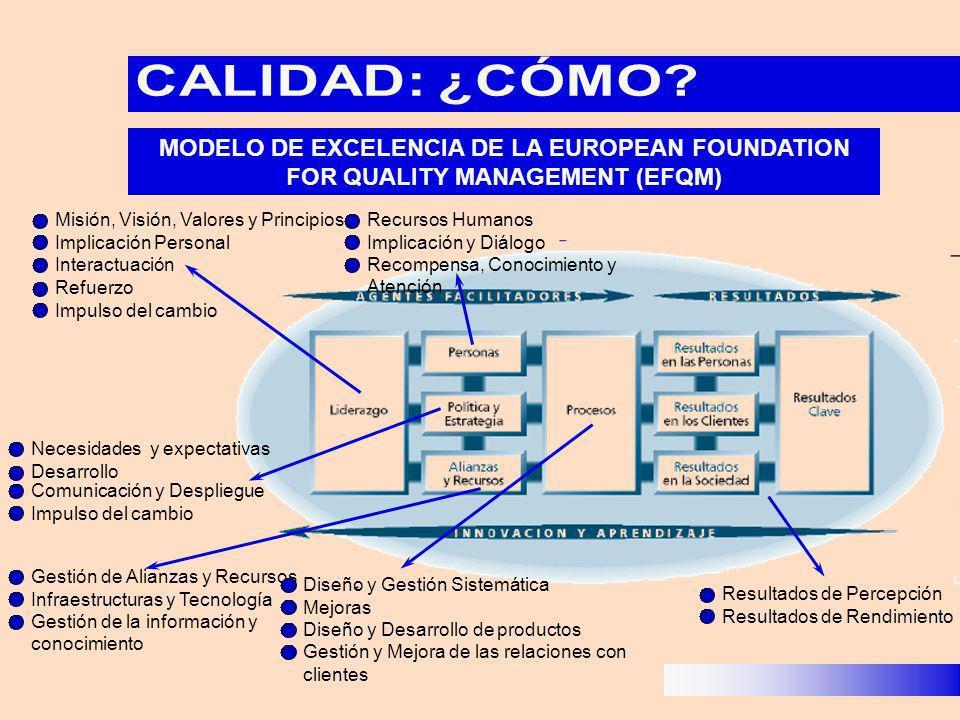 MODELO DE EXCELENCIA DE LA EUROPEAN FOUNDATION FOR QUALITY MANAGEMENT (EFQM) Misión, Visión, Valores y Principios Implicación Personal Interactuación