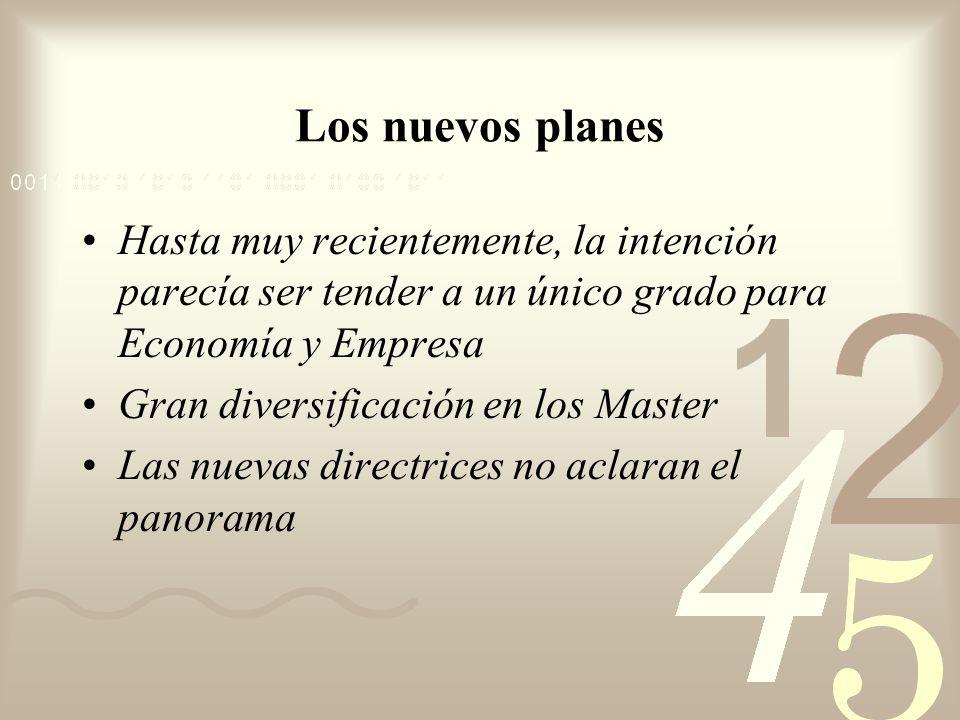 Los nuevos planes Hasta muy recientemente, la intención parecía ser tender a un único grado para Economía y Empresa Gran diversificación en los Master