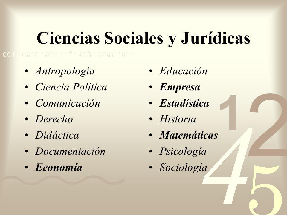 Antropología Ciencia Política Comunicación Derecho Didáctica Documentación Economía Educación Empresa Estadística Historia Matemáticas Psicología Soci