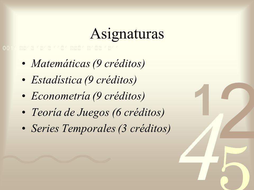 Asignaturas Matemáticas (9 créditos) Estadística (9 créditos) Econometría (9 créditos) Teoría de Juegos (6 créditos) Series Temporales (3 créditos)