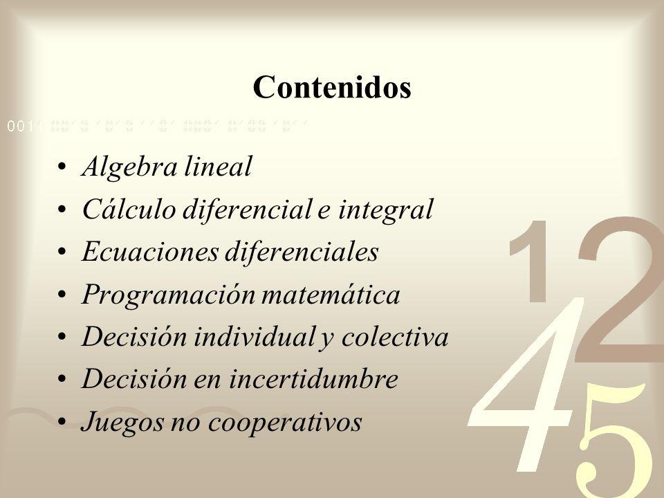 Contenidos Algebra lineal Cálculo diferencial e integral Ecuaciones diferenciales Programación matemática Decisión individual y colectiva Decisión en