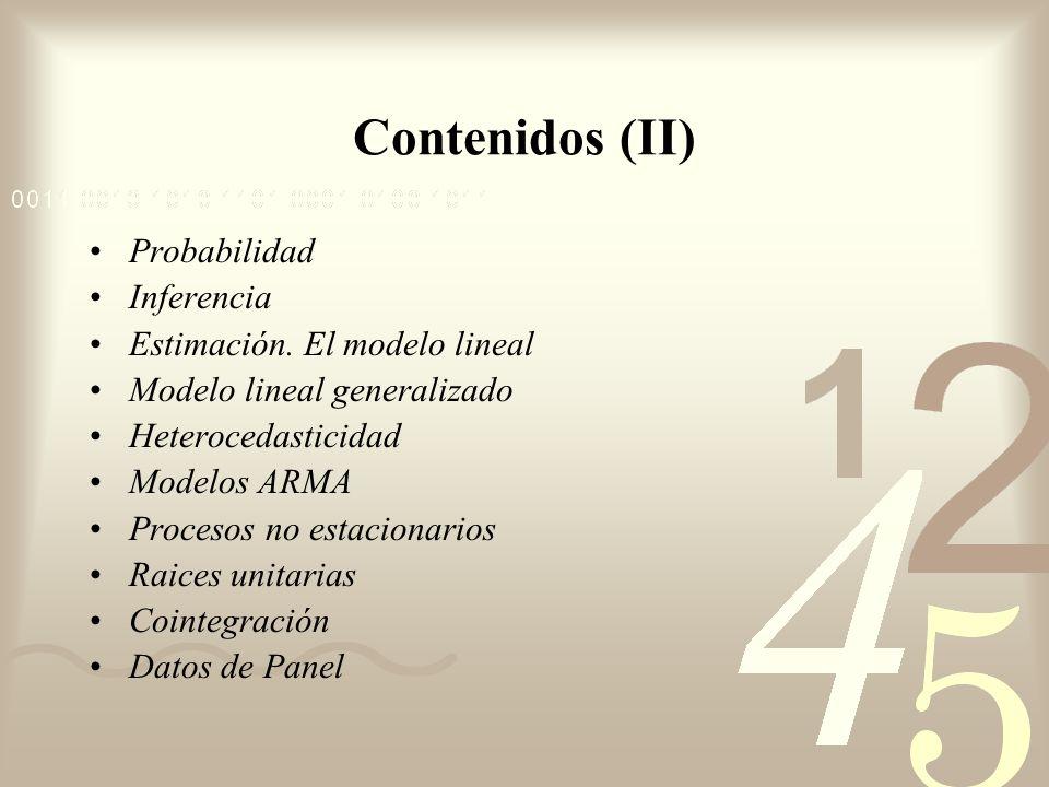 Contenidos (II) Probabilidad Inferencia Estimación. El modelo lineal Modelo lineal generalizado Heterocedasticidad Modelos ARMA Procesos no estacionar