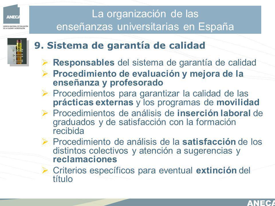 La organización de las enseñanzas universitarias en España Responsables del sistema de garantía de calidad Procedimiento de evaluación y mejora de la enseñanza y profesorado Procedimientos para garantizar la calidad de las prácticas externas y los programas de movilidad Procedimientos de análisis de inserción laboral de graduados y de satisfacción con la formación recibida Procedimiento de análisis de la satisfacción de los distintos colectivos y atención a sugerencias y reclamaciones Criterios específicos para eventual extinción del título 9.