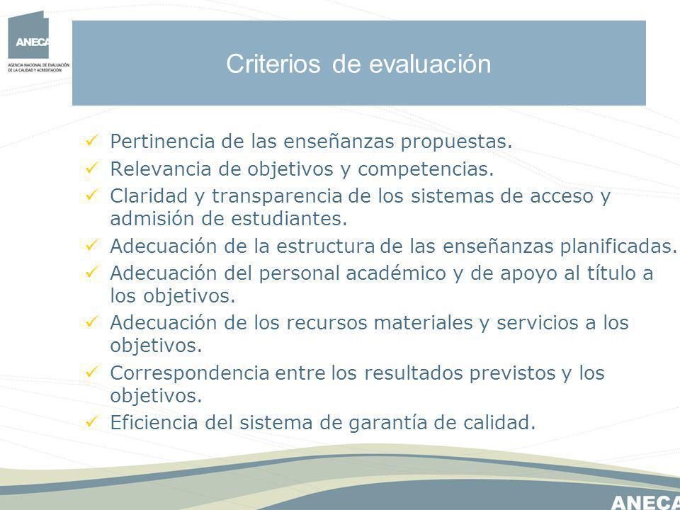 Criterios de evaluación Pertinencia de las enseñanzas propuestas.