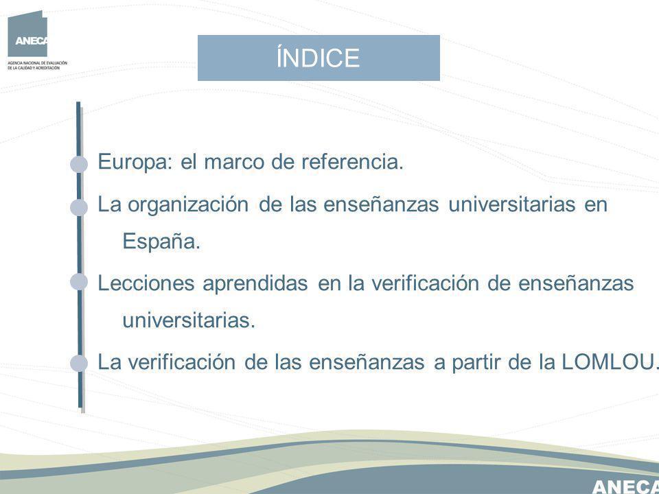 ÍNDICE Europa: el marco de referencia.La organización de las enseñanzas universitarias en España.