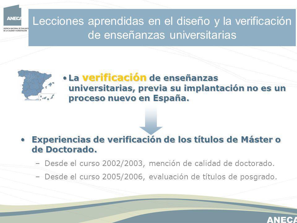 Lecciones aprendidas en el diseño y la verificación de enseñanzas universitarias Experiencias de verificación de los títulos de Máster o de Doctorado.Experiencias de verificación de los títulos de Máster o de Doctorado.