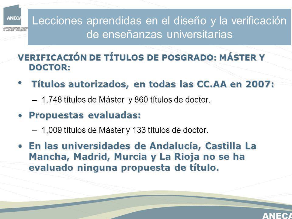 Lecciones aprendidas en el diseño y la verificación de enseñanzas universitarias VERIFICACIÓN DE TÍTULOS DE POSGRADO: MÁSTER Y DOCTOR: Títulos autorizados, en todas las CC.AA en 2007: –1,748 títulos de Máster y 860 títulos de doctor.