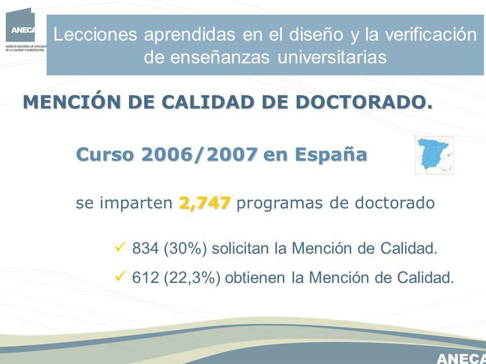 Lecciones aprendidas en el diseño y la verificación de enseñanzas universitarias 834 (30%) solicitan la Mención de Calidad.