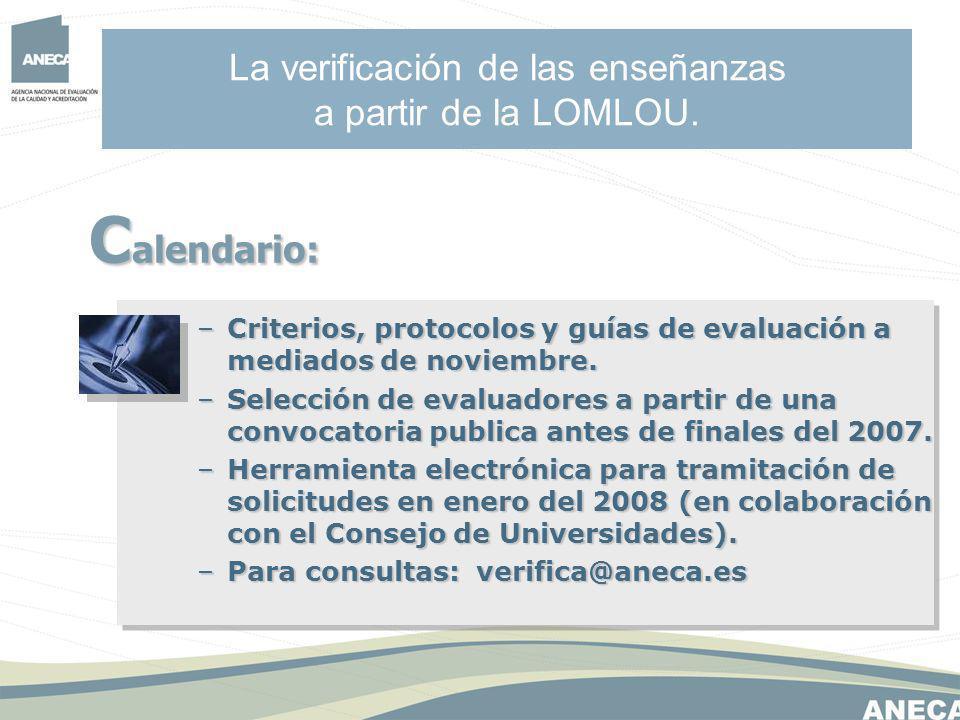 La verificación de las enseñanzas a partir de la LOMLOU.