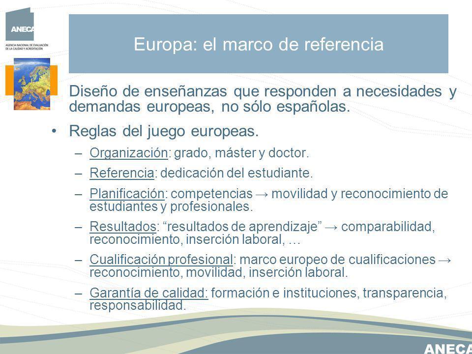Diseño de enseñanzas que responden a necesidades y demandas europeas, no sólo españolas.
